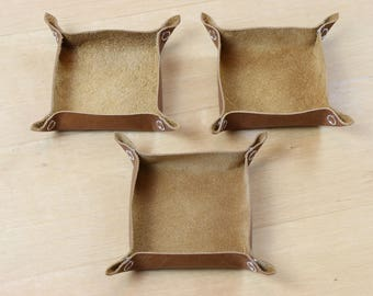 Tan Leather Tabletop Token Trays - Set of Three