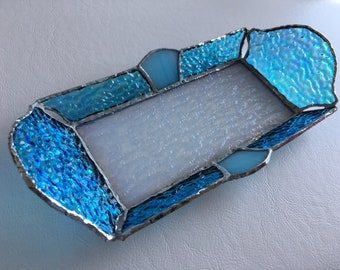 Jewelry Tray Blue white glass BayView