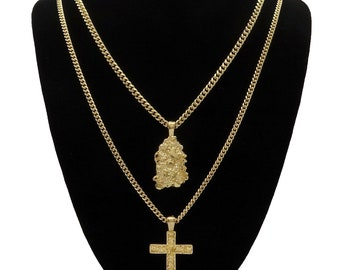 """New Men's 14k Gold Plated High Fashion 2 pc Nugget & Cross 3mm 30"""" 24"""" Cuban Chain"""