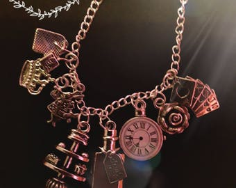 Alice's Adventure in Wonderland Charm Necklace