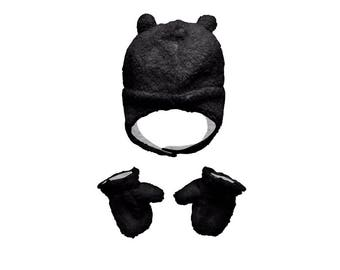 Hat & Mitten Set - Black
