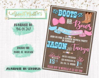 Boots or Bow Gender Reveal Invitation / Digital File / Printable