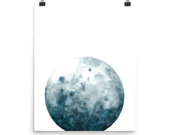 Watercolor Moon Art Print   Moon Painting   Lunar Painting