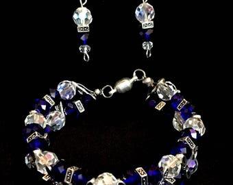 A62 Bracelet & Earrings saphire blue.