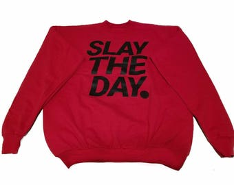 SLAYTHEDAY OFFICIAL SWEATER (mission red edition)