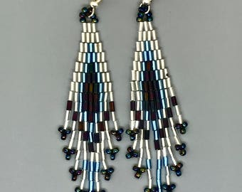 Handwoven Brick Stitch Beaded Earrings Native American Inspired