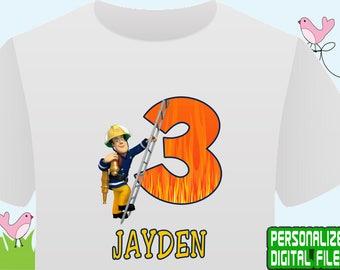 Fireman Sam , Fireman Sam Iron On Transfer , Fireman Sam Birthday Shirt DIY , Fireman Sam Shirt DIY , Personalize Name , Digital File