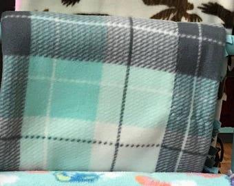 "Grey and mint fleece plaid 60"" X 66 1/2"" blanket"