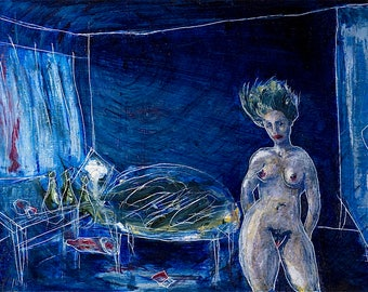 Woman in Blue Room