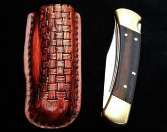 basket weave pattern Tooled molded Friction sheath with belt loop Buck 110 folding hunter, folding knife case, pocket knife leather case