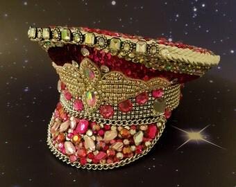festival hat, Pink festival hat, Crystal AB, burning man hat, Coachella hat, Military hat, fancy dress hat, captains hat