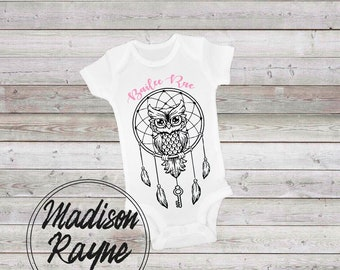 Customized Owl Dreamcatcher Onesie, Customized Onesie, Baby Gift, Owl Dreamcatcher, Cute Baby Onesie, Baby Clothes