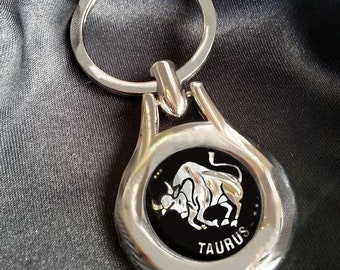 TAURUS Astrology Zodiac Star Sign Chrome Key Ring Fob Keyring Gift Idea