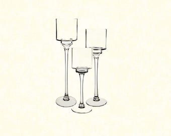 Glass Pedestal Candleholders - Set of 3