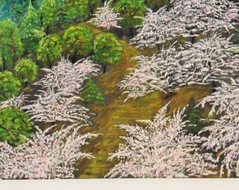 Cherry blossom in Japan oil on canvas painting unique signed