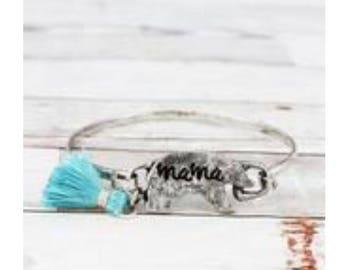 Mama Bear Bracelet with Blue tassel