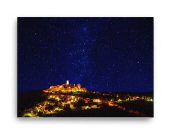 Sleepy Town Under The Stars - High Quality Canvas Print