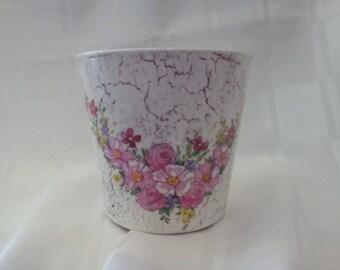 Hand decoupaged flower plant pot home decor