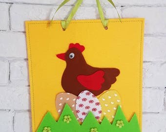 easter home felt decorations/ toys kids room decoration/ set of hen with 3 eggs / felt handmade collage by Evelyn Kara Atelier