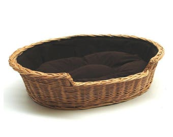 Willow Pet Wicker Basket with a Dark Cushion