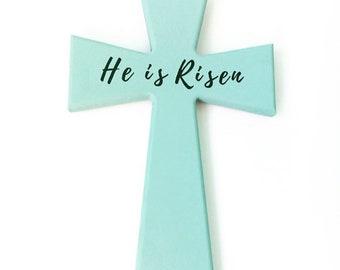 He is Risen turquoise cross