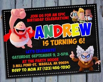 Captain Underpants Birthday Invitation, Superhero Party Card Invite, Movie Printable Digital Invitations, Custom Hero Printables