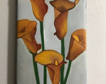 Yellow calla lily original oil painting