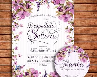 Bachelorette Party Invitation Flowers Lilac-Bridal Shower invitation Flower