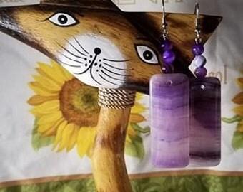Purple Lace Chalcedony Oblong Earrings