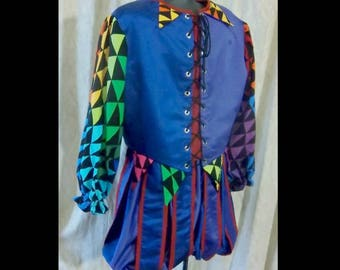 MADE to ORDER Mens or Womens Renaissance Court Jester Costume, Any Size!