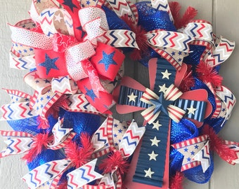 Patriotic Wreath, Red White and Blue, Fourth of July