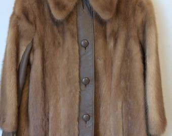 Gruidl Vintage Women's Fur Leather Coat Size Medium