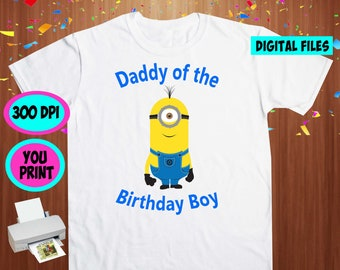 Minions. Iron On Transfer. Minions Printable DIY Transfer. Minions Daddy Shirt DIY. Instant Download. Digital Files Only.