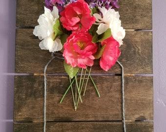 Wood Plank Flower Arrangement