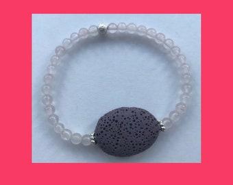 Lava Rock Diffuser Bracelet Rose Quartz