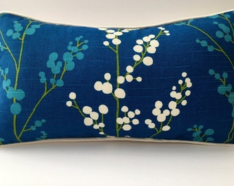 9x18 Decorator Throw Pillow Lumbar Blue White Green Linen With Feather Insert