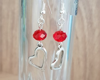 Red heart earlings