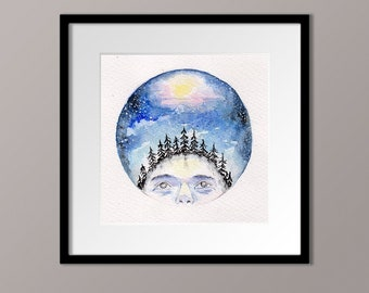 original watercolor painting, night forest watercolor, night sky painting, watercolor, moonlight face, illustration