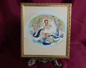 Charles Cobelle Original Gouache Painting Farm Maiden/Chickens/Ducks/Signed