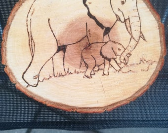 elephant on wood