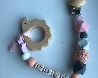 Personalised handmade dummy clip/ teether,