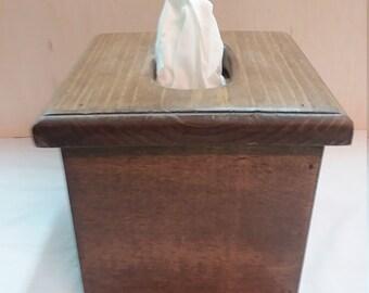 Dark Walnut Reclaimed Wood Tissue Box Cover