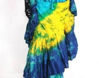 25Yard Tribal Gypsy TyeDyed Colorful ATS Skirt