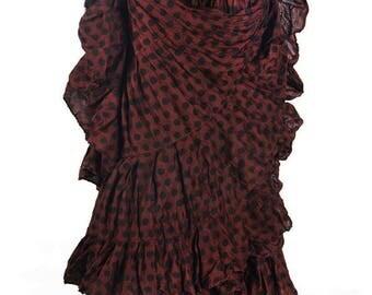 Beautiful Chocolate Browns& Black Polka Dot 25Yard Tribal Gypsy ATS Skirt