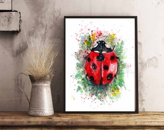 Lady Bug  Art print, Watercolor lady bug, Red Bug watercolor, Lady Bug Illustration, Children Art, for Her,