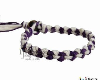 Dark Purple and White hemp Chain Bracelet or Anklet