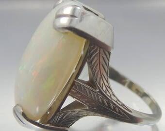 Art Deco 14k White Gold 15 Carat Opal Lady's 1920's Ring