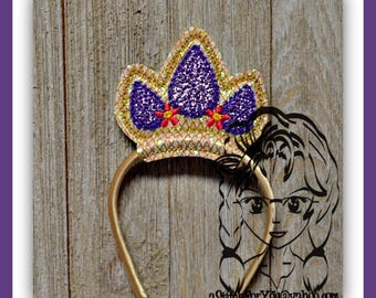 """CRoWN LoNG HaIR PRiNCESS ~ DoLL Size, fits 18"""" Doll ~ In the Hoop ~ Downloadable DiGiTaL Machine Embroidery Design by Carrie"""