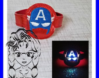 CAPTaIN A HERO Inspired Character WRiSTBaND ArM CaNDY Snap Tab, Halloween Birthdays - INSTANT Download Machine Embroidery Design by Carrie
