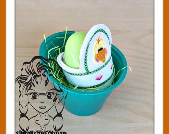 CHICK Easter Egg Wrap Hugger ~ Snap Tab ~ In The Hoop ~ Downloadable DiGiTaL Machine Embroidery Design by Carrie